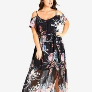 City Chic Dress Cold Shoulder  Floral Sz 18 Plus